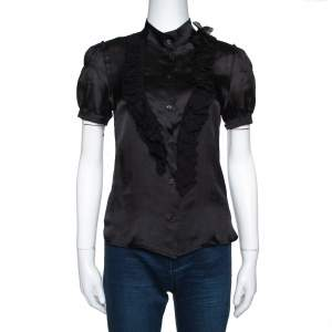 Prada Black Silk Ruffle Trim Button Front Shirt M