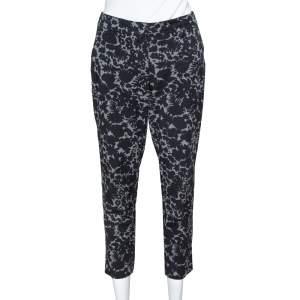 Prada Black Floral Print Wool Tapered Trousers S