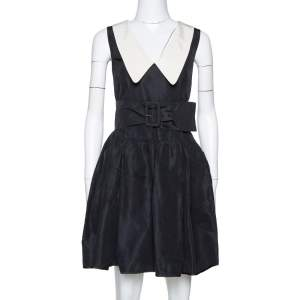 Prada Black Silk Faille Belted Flared Dress M