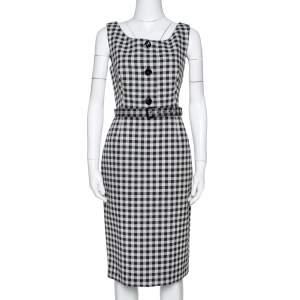 Prada Cream & Black Checked Wool Blend Sheath Dress M