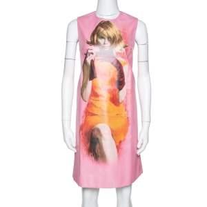 Prada Pink Poster Girl Print Coated Cotton Sleeveless Dress S
