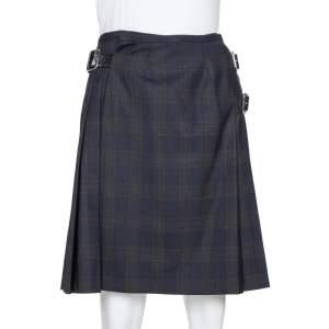 Prada Black Plaid Wool Blend Buckled Wrap Skirt S