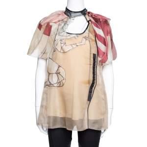 Prada Beige Silk Organza Girl Appliqued Sheer Blouse L