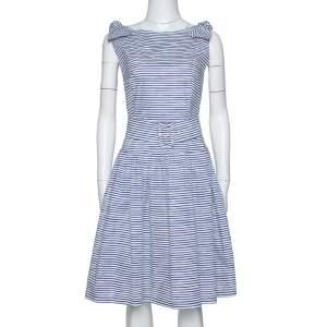 Prada Blue & White Striped Cotton Belted Knee Length Dress M