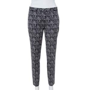 Prada Grey Printed Wool Tapered Trousers S