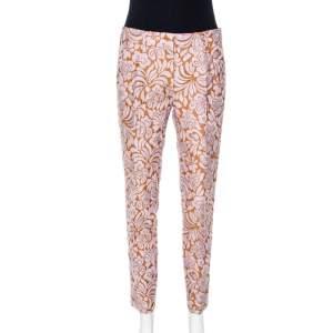 Prada Bicolor Embossed Floral Jacquard Tapered Trousers S
