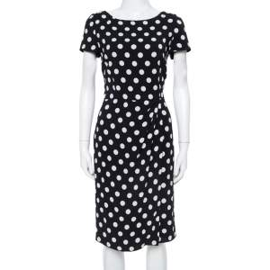 Prada Black & White Polka Dotted Crepe Pleat Detail Dress M