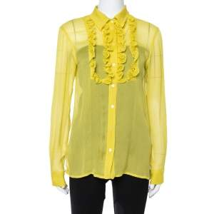 Prada Yellow Silk Crepon Ruffle Front Sheer Blouse M
