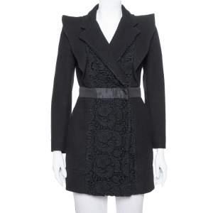 Prada Black Wool & Lace Paneled Coat S