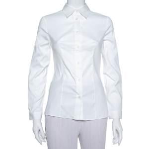 قميص برادا قطن سترتش أبيض بأزرار أمامية مقاس صغير - سمول