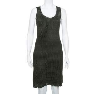 Prada Green Crochet Knit Sleeveless Midi Dress S