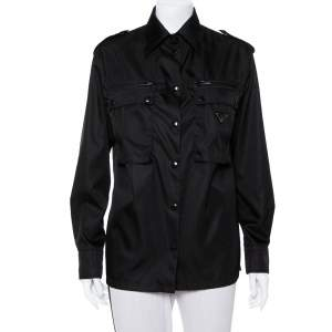 Prada Black Synthetic Front Pocket Detail Military Jacket XS