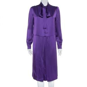 Prada Purple Satin Neck Tie Detail Midi Dress M