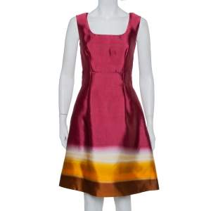 Prada Burgundy Ombre Silk Sleeveless Midi Dress M