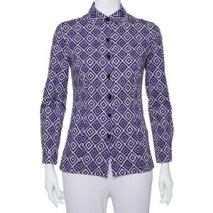 Prada Purple Printed Stretch Cotton Fitted Button Front Shirt S