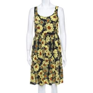 فستان ميدي برادا قطن أصفر مورد مطبوع بلا أكمام مقاس متوسط - ميديوم