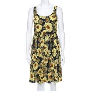 Prada Yellow Floral Printed Cotton Sleeveless Midi Dress M