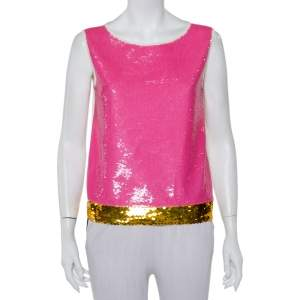 Prada Cream Knit Sequin Embellished Sleeveless Top M