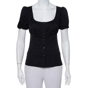 Prada Black Cotton Draped Scoop Neck Button Front Shirt S