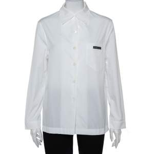 Prada White Cotton Triangle Logo Detail Button Front Shirt S