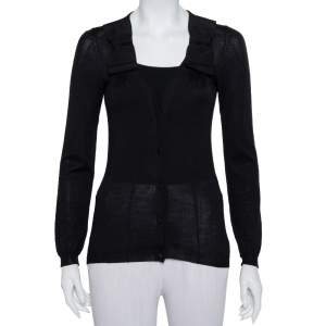 Prada Black Cashmere Bow Trim Detail Button Front Cardigan S