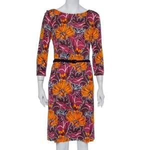 Prada Burgundy Floral Printed knit Belted Shift Dress M
