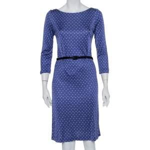 Prada Blue Printed Silk Knit Belted Shift Dress M