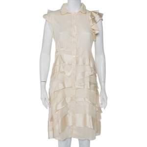 Prada Cream Silk Detachable Collar Detail Ruffled Shirt Dress M