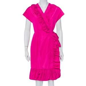 Prada Fuchsia Pink Silk Ruffled Mini Wrap Dress M