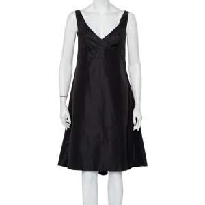Prada Black Synthetic Sleeveless Faux Wrap Midi Dress L