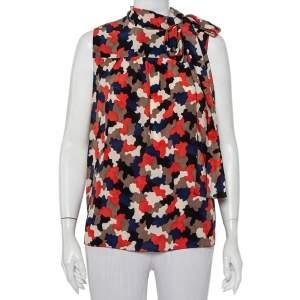 Prada Multicolor Camo Printed Silk Neck Tie Detail Sleeveless Top M