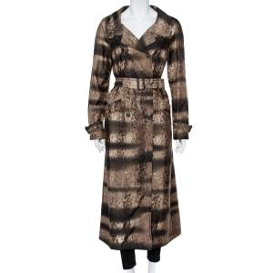 Prada Brown Animal Printed Synthetic Belted Double Breasted Trench Coat M