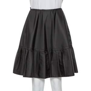 Prada Black Synthetic Pleated Detail Mini Skirt S