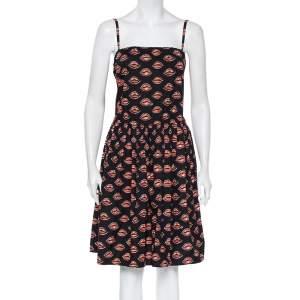 Prada Black Lips Printed Cotton Waist Tie Detail Sleeveless Mini Dress S