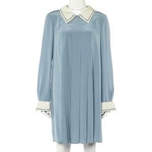 Prada Powder Blue Silk Sequin Embellished Trim Pleated Mini Dress M