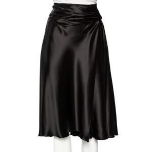 Prada Black Sateen Pleated Detail Knee Length Skirt M