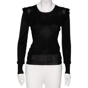 Prada Black Jersey Knit Ruffled Detail Long Sleeve Top M