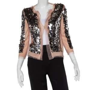 Prada Light Pink Cashmere & Silk Sequin Embellished Cardigan M