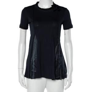 Prada Navy Blue Cotton Knit & Satin Paneled Bow Detail T-Shirt XS