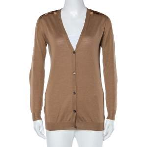 Prada Camel Brown Wool Contrast Detail Button Front Cardigan S