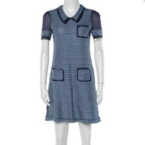 Prada Two Tone Open Knit Shift Dress S