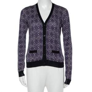 Prada Purple Geometric Patterned Wool & Silk Button Front Cardigan S