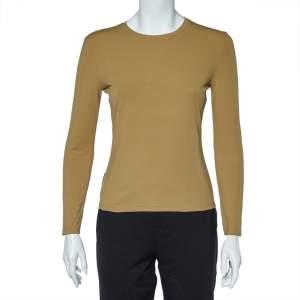 Prada Khaki Jersey Back Pocket Detail Long Sleeve Top L