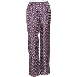 Prada Multicolored Printed Silk Twill Straight Leg Pants XS