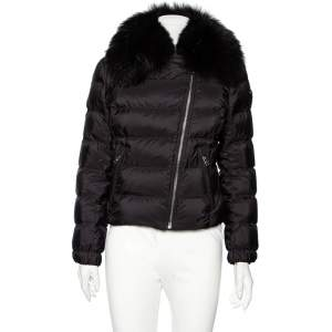 Prada Black Synthetic Quilted & Fur Collared Jacket M