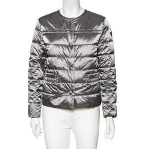 Prada Grey Quilted Button Front Long Sleeve Jacket M