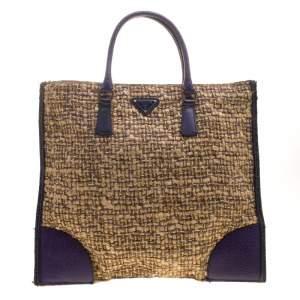 Prada Beige/Purple Tweed and Leather Flat Tote