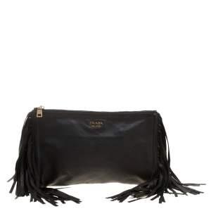 Prada Black Leather Fringe Clutch