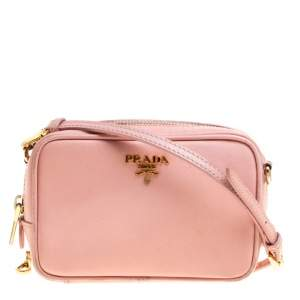 Prada Pink Saffiano Lux Leather Camera Crossbody Bag
