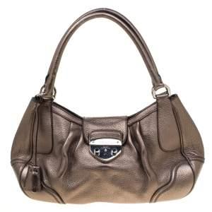Prada Metallic Grey Leather Shoulder Bag